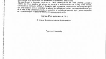 Edicto de la Jefatura de Tráfico sobre la retirada del vehículo polaco